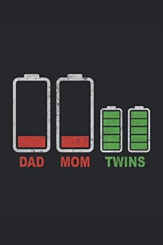 Dad Mom Twins Zwillingen Batterie Akku Leer Akku Voll Familie Mädchen Junge Liebe: Notizbuch - Notizheft - Notizblock - Tagebuch - Planer - Kariert - ... 6 x 9 Zoll (15.24 x 22.86 cm) - 120 Seiten