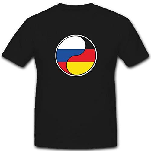Deutsch Russisches Yin Yang Deutschland Russland Fahne Flagge - T Shirt #4360, Größe:XXL, Farbe:Schwarz