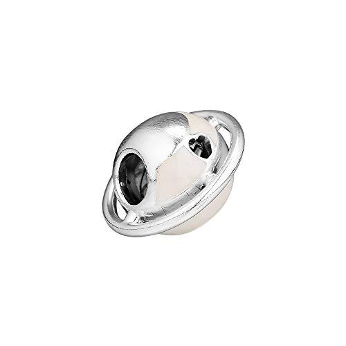 LILANG Pulsera de joyería Pandora 925, Cuentas de Encanto de Planeta Natural de Amor en Forma de Collar de Plata de Ley Original para Hombres, Cuentas para Hacer Mujeres, Regalo DIY