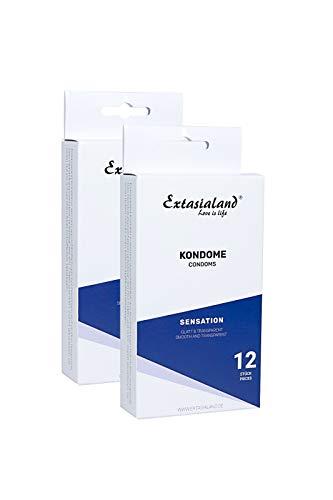 Extasialand Markenkondome 2x 12er Packung glatt und transparent 2x 12 Kondome im praktischen Sparpack Präservative