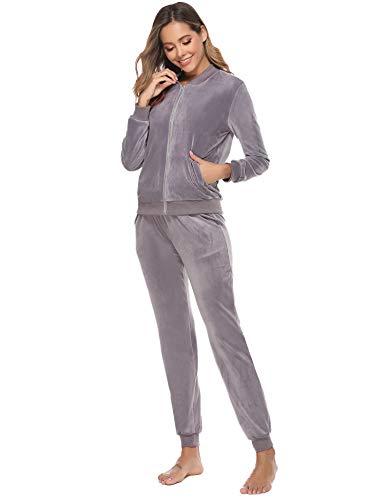 Abollria Damen Nicki Jogginganzug 2 Teiler Velours Hausanzug Kuschlig Freizeitanzug Zip Jacke mit Stehkragen+Hose mit Kordelzug und Taschen,Grau,XL