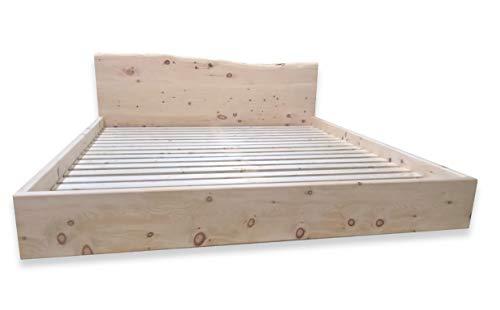 rc-holzgestaltung Zirbenbett, Schwebend mit Kopfteil Zirbelkiefernbett, Zirbenbett, Doppelbett, Biobett Zirbenholz (180 x 200 cm, Zirbe)