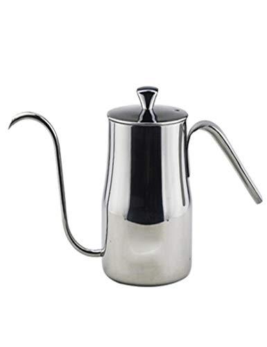 Europese Stijl RVS Koffiepot - Hand Ponsen Fijne pot - Met draad Tekenen Proces en Thermometer Socket - 600ml - Huishoudelijke Theepot Ketel - Zilver