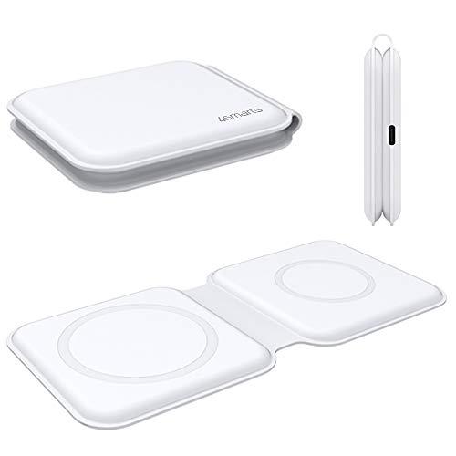 4smarts UltiMAG Duofold Wireless Charger Ladepad 15W Fast Kabellose Ladestation [eingebauten Magneten] Dual Faltbares Qi Ladegerät kompatibel mit iPhone 12 Pro Max, 12 Mini, Apple Watch - Weiß