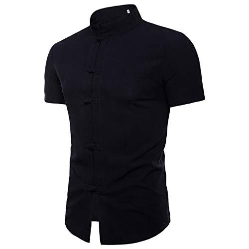 T-Shirts Herren Lässige Sommer chinesische Einfarbig Kurzarm Hemd Stehkragen T-Shirt Top Bluse Regular Slim fit Pullover Schwarz Shirt