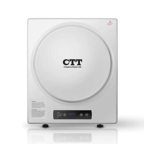 CTT Clothes Dryer | 9 Lbs. 2.7Cu.ft Intelligent Compact Portable Tumble Mini Clothes Laundry Dryer, Intelligent Humidity Sensor - White