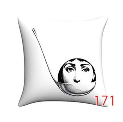 Forqazx sierkussen voor nekrollen, decokussen, Fornasetti, Sofa, Decoratie, Jet, katoen, Vintage, 50 x 50 cm