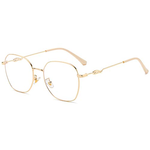 KOOSUFA Mode Metall Blaulichtfilter Brille Groß Quadratischer Brillengestelle Damen Herren Anti Blaulicht Brille Ohne Sehstärke Computer Gaming Anti Müdigkeit Brillen mit Etui (Gold)