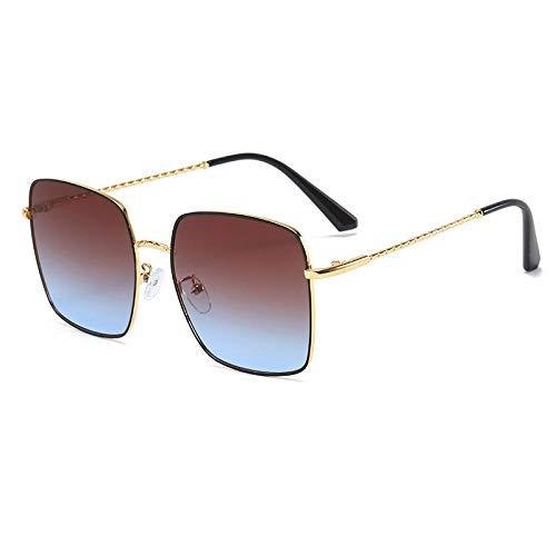 Gosunfly Gafas de sol de moda Gafas de sol cuadradas Montura grande Gafas de sol de metal Gafas Visera de sol-Marco dorado negro superior marrón e inferior azul