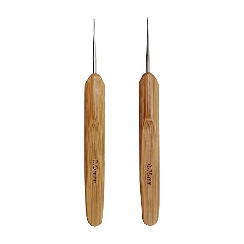 Meikeer 2pcs Dreadlocks Crochet Hooks for Hair, Locs Crochet Needle Steel Crochet Hook Lock for Braid Craft, (0.5mm and 0.75mm), Bamboo Handle