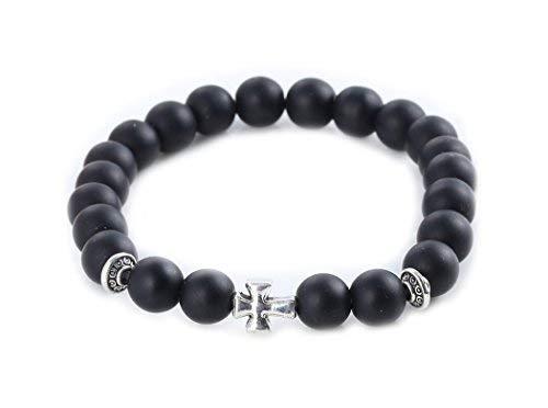 Armband schwarz Obsidian mit Kreuz Silber - Yoga Spiritualität Meditation Esoterik Astrologie
