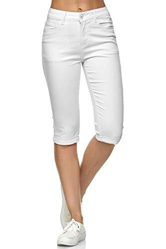 Damen Capri Jeans 3/4 Stretch Bermuda Shorts Big Size Hose, Farben:Weiß, Größe:40
