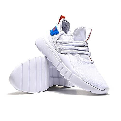 ERKE Men's Walking Shoes Athletic Tennis Shoes Lightweight Non-Slip Running Shoes Fashionable and Breathable Casual Shoes Size 8.5 White/Summer Orange