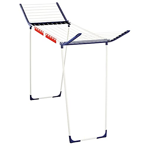 Leifheit Pegasus 180 Gullwing Drying Rack with 19.7 Yards of Hanging Space, White and Blue