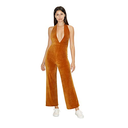 American Apparel Women's Stretch Velour Sleeveless Deep V Jumpsuit, Russet/White, Small