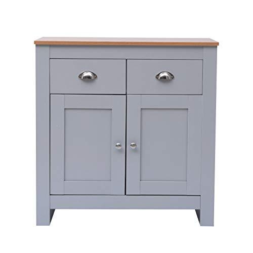 Yaermei Storage Sidebard Living Room Cabinet with Drawers Hallway Organiser Cupboard White/Grey+Oak Top (grey+oak top, Sideboard with 2 Drawers and 2 Doors)