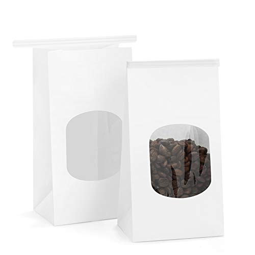 BagDream Bakery Bags with Window Kraft Paper Bags 50Pcs 3.54x2.36x6.7 Inches Tin Tie Tab Lock Bags White Window Bags Cookie Bags, Coffee Bags, Treat Bags, Popcorn Bags