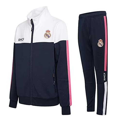 Morefootballs - Chándal oficial del Real Madrid para niños - 2020/2021-128 - Chaqueta de entrenamiento de manga larga y pantalón de jogging - Chaqueta y pantalón para entrenamiento de fútbol