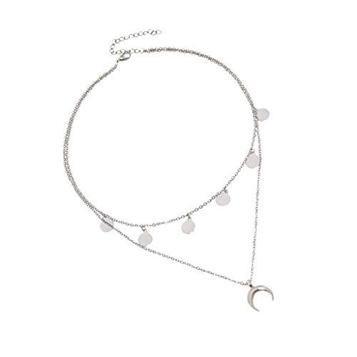 Baoblaze Collar Gargantilla de Doble Capa Colgante de Luna Estilo Bohemio para Mujer - Plata