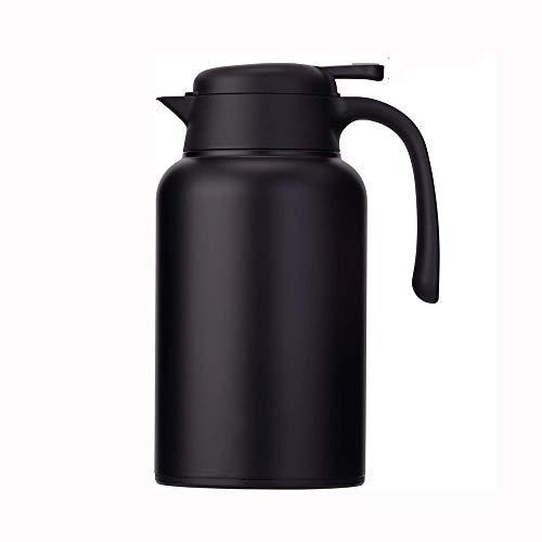Café Jarra térmica de Acero Inoxidable - Heavy Duty, 24 Horas Lab Tested retención de Calor, 2 litros 68 oz con Aislamiento Termo de café, Agua y Bebidas dispensador (Negro, 2L)