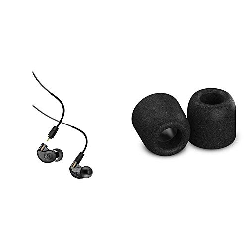 MEE audio M6 PRO 2nd Generation Universal-Fit Noise-Isolating Musicians' in-Ear Monitors with Detachable Cables (Smoke) & Comply Isolation Noise Cancelling Memory Foam Earphone Tips (Medium, 3 Pairs)
