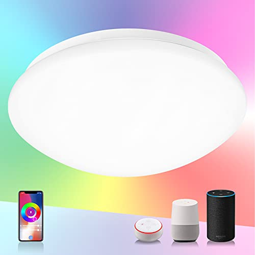 SYLSTAR Smart LED Ceiling Light 20W 1500lm, RGB+CW Color Ambiance, APP or Voice Control, Compatible with Alexa and Google Home, No Hub Required(2.4Gz WiFi + Bluetooth)