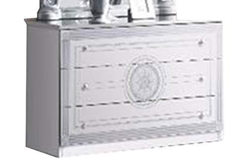 Liegnebel Teva Lack, Weiß und Silber, Schlafzimmer Barock: Die Kommode