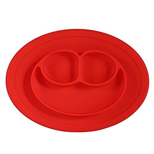 1 unid placa de silicona para niños conjunto de alimentación de silicona mesa de succión bandeja de comida para bebés niños y niños (azul/verde/rojo)(rojo)