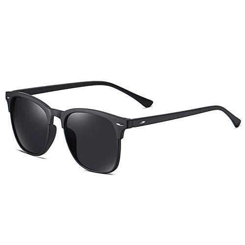 QINGZHOU Gafas De Sol,Gafas De Sol Polarizadas Gafas De Sol Unisex Con Tachuelas Gafas De Sol Retro Clásicas, Película Negra/Gris Elástica C73