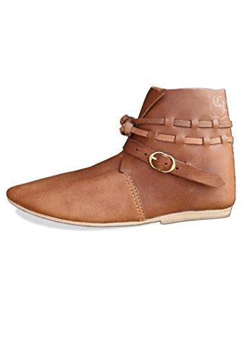 Battle-Merchant Hochmittelalterlicher Halbstiefel Eberhardt LARP Mittelalter Schuhe Stiefel (43, Braun)