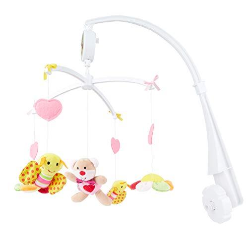 BIECO Musik Mobile Baby, Design: Bärchen Pink | Ø 31 cm, Höhe 62 cm | Baby Einschlafhilfe, Spieluhr Baby | Babybett Spielzeug | Mobile Baby Musik | Baby Toys 0-6 Months | Spielt die Melodie LaLeLu