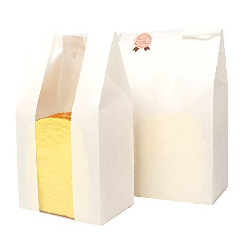 50 stuks papieren zakjes klein met venster, bodemmentassen, ook cadeauzakjes, boterbroodzakjes, snoep, geschenkverpakking, gastgeschenkzakjes 21 x 10 x 32 cm.