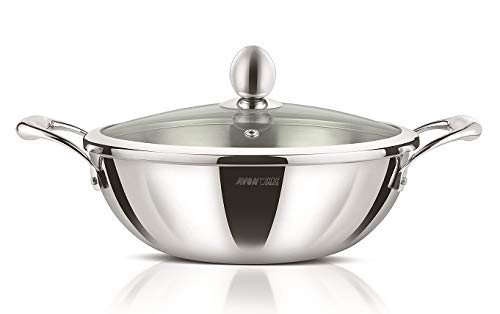 AVONWARE WholeBodyClad Triply Stainless Steel 28cm Kadai/Wok with Glass Lid - 4.0 Liters