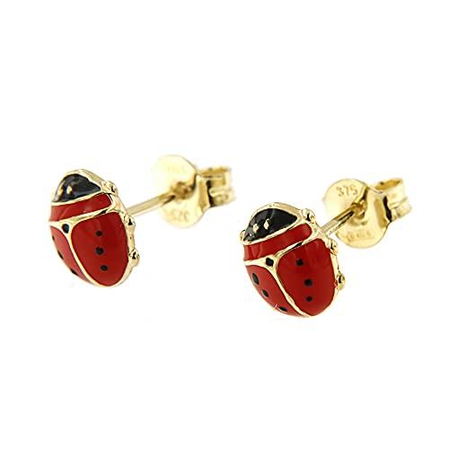 Lucchetta - Joyas Mujer Pendientes de Oro Amarillo Amuleto de la Suerte, Pendientes Mariquita Oro...