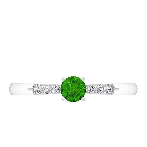 Rosec Jewels 14 quilates oro blanco redonda round-brilliant-shape H-I Green Diamond Creado en laboratorio de tsavorita