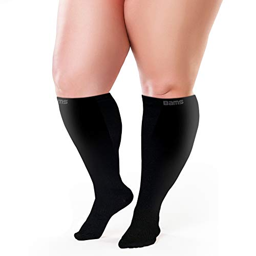 BAMS Plus Size Compression Socks Wide Calf XXXL – Graduated Bamboo Knee-High Support
