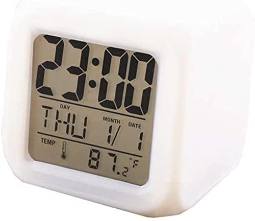 LFERRTYZ Reloj Despertador Digital Led Cube Red de cabecera Alimentado por Red Reloj de Pared Digital Reloj Inteligente para niños Reloj de luz para niños Reloj Despertador