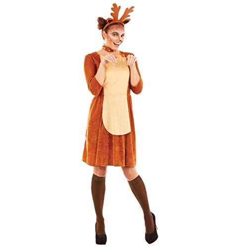 Womens Reindeer Costume Adults Christmas Animal Festive Dress Outfit - X-Large