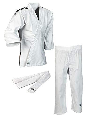adidas Judo Club wit, zwarte strepen met broek, jas + riem (140)