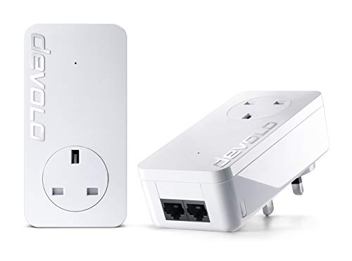 Devolo dLAN 1000 duo+ Powerline Starter Kit (up to 1000 Mbit/s Internet from any power socket, 2x LAN ports, 2x PowerLAN adapter, integrated electrical socket, PLC network adapter) white