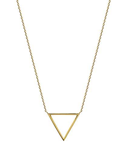 Tata Gisèle - Collar chapado en oro de 18 quilates, colgante en forma de triángulo, bolsa de terciopelo
