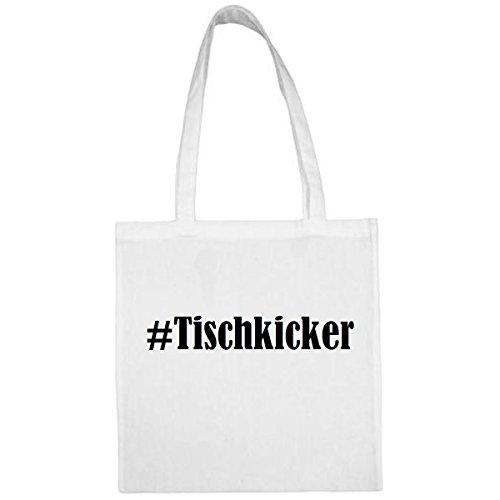 Tasche #Tischkicker Größe 38x42 Farbe Weiss Druck Schwarz
