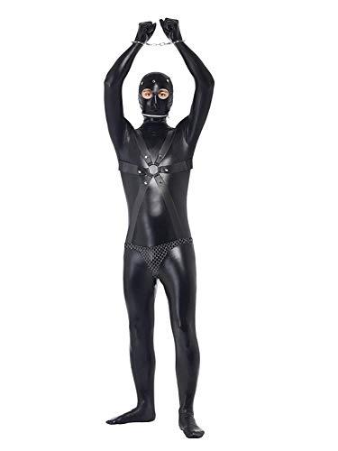 DQYFZQ Uomo Jumpsuits Brevetto Pelle Bodysuit Cosplay Prigioniero Prestazione Nightclub Abbigliamento Contengono Maschera Manette,XL