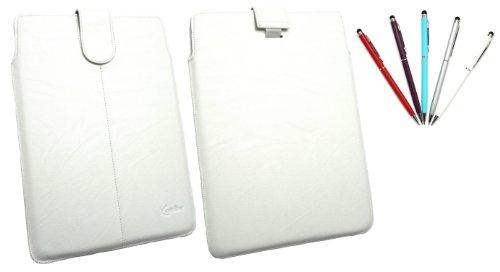 emartbuy Bundle Von 5 Doppelfunktion Stylus + Weiß Pu-Leder secured Gleiten In Pouch Case Tashe Hülle Sleeve-Halter Mit Pull Tab Mechanismus Geeignet Für Odys Xeno 10 10.1 Tablet (10-11 Zoll-Tablet)