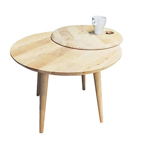 YUMEIGE-Tables Round Coffee Table for Living Room, Solid Wood Sofa Side Table, Creative Rotatable Side Table, Extensible Coffee Table (Color : Wood, Size : 23.2223.2217.71in)