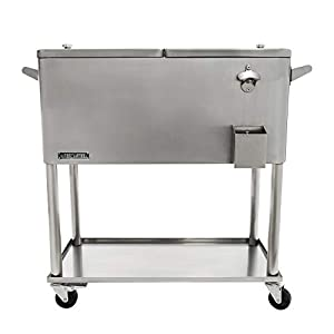 Permasteel PS-206-SS-AM 80 Quart Portable Rolling Patio Cooler, Stainless Steel