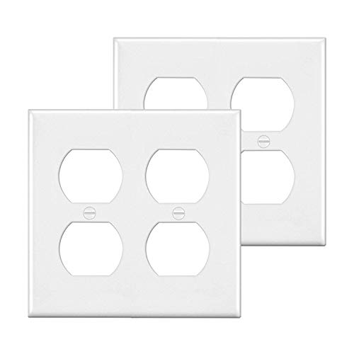 [2 Pack] BESTTEN 2-Gang Duplex Outlet Wall Plate, Standard Size, Unbreakable Polycarbonate Outlet and Switch Cover, UL Listed, White