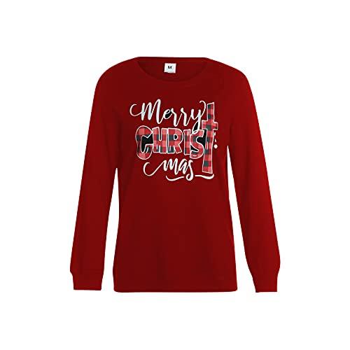 Navidad a juego de sudaderas familiares a cuadros impresión de letras jersey camisetas de manga larga suéter...