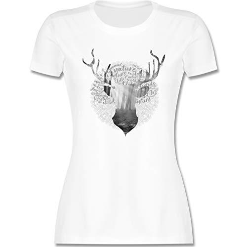 Oktoberfest & Wiesn Damen - Hirsch Grau - S - Weiß - Damen Tshirt weiß Silber - L191 - Tailliertes Tshirt für Damen und Frauen T-Shirt