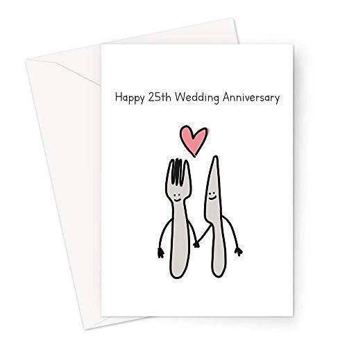 Tarjeta de felicitación para 25 aniversario de boda de plata | Tarjeta de aniversario de boda, cuchillo plateado y tenedor enamorado, para cónyuge, casado 25 años